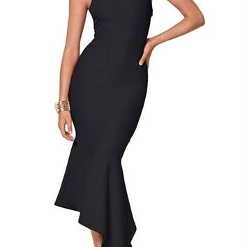 Black One Shoulder Tulip Party Dress