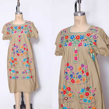 Vintage MEXICAN Dress Khaki EMBROIDERED Ethnic Hippie Dress Boho Festival Dress Tent Dress
