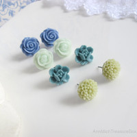 Set of 4 pairs earrings Soft Olive Green pompoms, Blue ruffled rose, Mint Green roses, Pale Blue Rose Buds . Ear Jewelry accessories