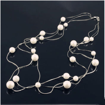 Trendy Acrylic Lead-tin Alloy Snake Chain For Women Necklaces