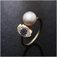 Hongye Real Natural Freshwater Pearl Finger Rings with 925 Sterling Silver Evil of Eye Open Ring For Women Men Vintage Ring 2017