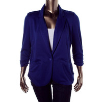 Style & Co. Womens Jersey Ruched One-Button Blazer