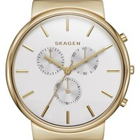 Skagen 'Ancher' Chronograph Leather Strap Watch, 40mm - Brown/ Gold (Nordstrom Exclusive)