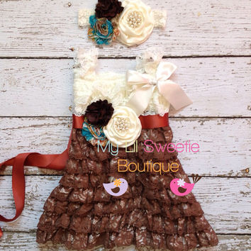 3 piece set, Fall chocolate dress, sash , headband, Lace dress, baby girl outfit, special occasion dress, toddler dress, girls dress,