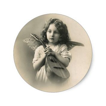 Vintage Angel Girl with Lute Christmas Sticker