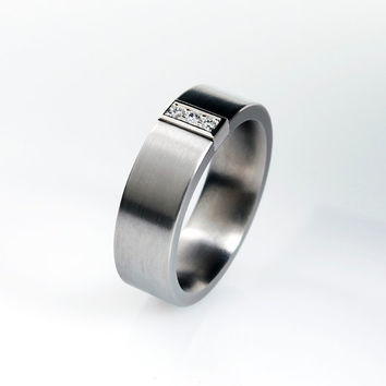 Ready to ship size 7, Titanium wedding band, diamond ring, white gold, Titanium ring, wedding band, unique, commitment, men wedding band