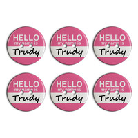 Trudy Hello My Name Is Plastic Resin Button Set of 6