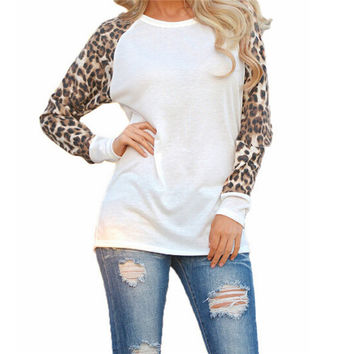 Women Ladies Long Sleeve Leopard  T Shirt