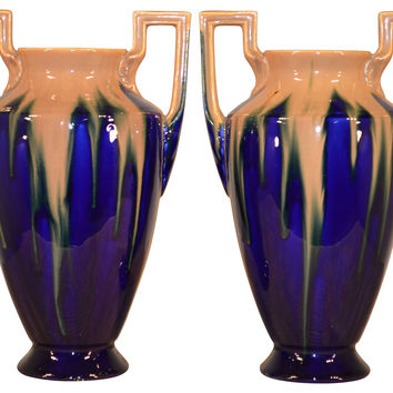 1930s French Orchies Vases, Pair