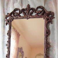Ornate Vintage Turner Wall Mirror Dusty Mauve with Gold Highlights