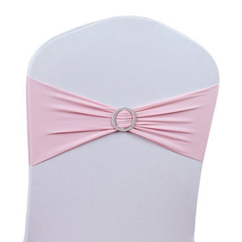 New Stretch Chair Cover Bands with Ring Buckle Twill Spandex Butterfly For Wedding Chair