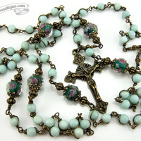 Unbreakable Amazonite Rosary first communion gift green rosary catholic gift confirmation rosary catholic rosaries unbreakable rosary ladies