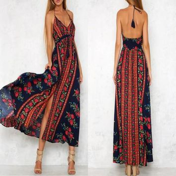 Navy Blue Floral Print Halter Neck Tie Back Drawstring Bohemian Maxi Dress
