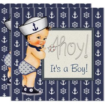 Little Sailor Boy Nautical Baby Shower Card