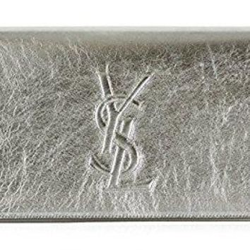 Saint Laurent YSL 361120 Silver Metallic Leather Large Belle de Jour Clutch Handbag