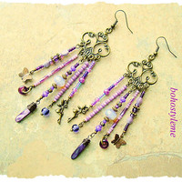 Boho Gypsy Chandelier Earrings, Purple Pixie Earrings, Fairies, Colorful Vibrant Bohemian Jewelry, bohostyleme, Kaye Kraus
