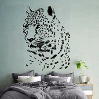 Wall Decals Vinyl Decal Sticker Animals Powerful Leopard Wild Cat Cheetah Head Home Wall Art Decor Interior Design Mural Living Room