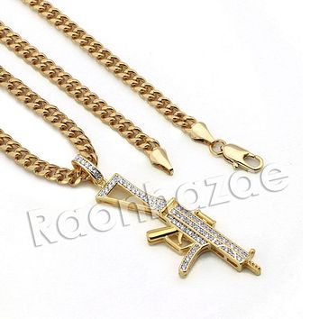 Lab diamond Micro Pave AK47 Machine Gun Pendant w/ Miami Cuban Chain BR090