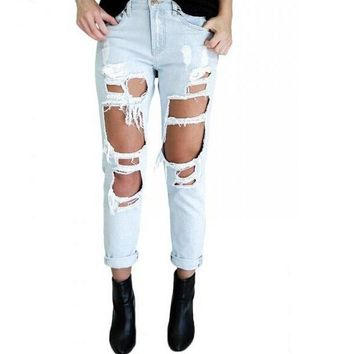 Fashion Women Ripped Cropped Denim Jeans Pants Trousers +Free Gift Necklace