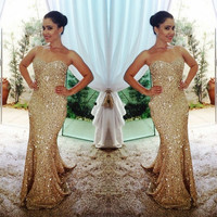 New Arrival Gold Long Prom Dress 2017 Sparkly Mermaid Evening Dresses Shiny Custom Made Vestidos Largos De Noche