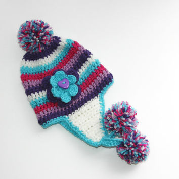 Baby Girl hat purple hot pink teal blue white earflap with flower accent. 0 - 6 months photo prop