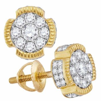 10kt Yellow Gold Mens Round Diamond Circle Cluster Stud Earrings 5-8 Cttw - FREE Shipping (US/CAN)