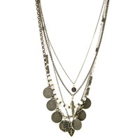 Tiny Treasures Necklace in Brass with White Fossil, Coins, Feathers and Fleur de Lis