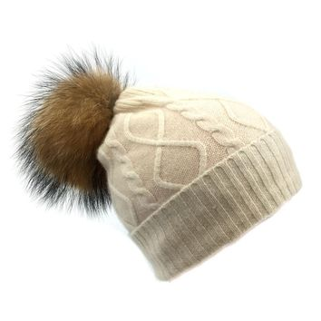 Dilly Fashion Women Winter Warm Cashmere Knit Pom Pom Beanie Hat- PM002
