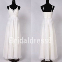Beads White See-through V- neck Straps Empired Long Bridesmaid Celebrity Dress, Floor length Chiffon Formal Evening Prom Homecoming Dress