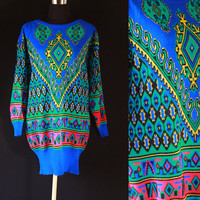 Vintage sweater 70s bold royal blue green CHUNKY abstract sweater dress KNIT preppy slouchy jumper Top sweater top s/m large knitted sweater