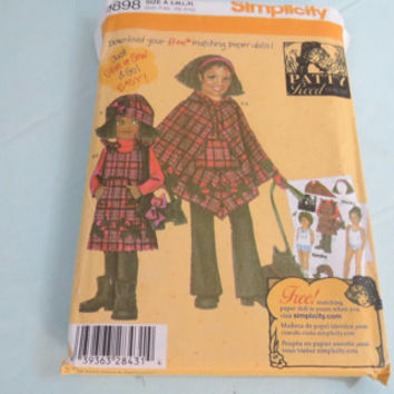 Vintage Simplicity size A S M L XL Child's and girl's fleece pants jumper poncho hat and purse