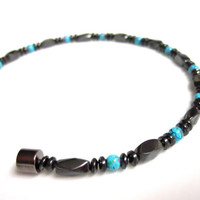 Magnetic Bracelet, Magnetic Therapy Bracelet, Magnetic Turquoise Picasso and Magnetic Hematite Bracelet