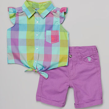 Green Plaid Button-Up & Purple Shorts - Infant, Toddler & Girls | something special every day