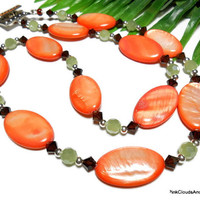 Necklace Jewelry Orange Brown Green Mother of Pearl Swarovksi Crystals Silver Glass Handmade Beaded Fashion 22 Inch PinkCloudsAndAngels