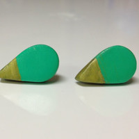 Turquoise and Gold Medium Size 9x16mm-Polymer Clay Stud Earrings