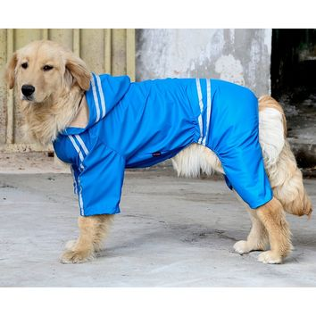 Raincoat For Dogs Waterproof Dog Coat Reflective Dog Raincoat Clothes For Large Dogs Labrador 5 Sizes