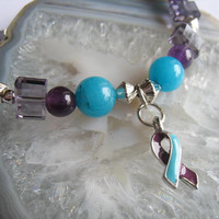 "Domestic Violence & Sexual Assault Support bracelet (141)  7 1/4"", awareness, cancer awareness collection, unique visions by jen"