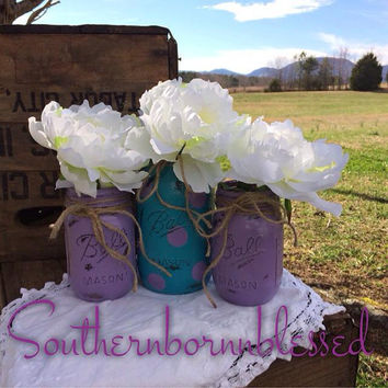 Purple and teal painted mason jars, painted mason jar, rustic wedding, decorated mason jar, shabby chic, country, decorated mason jars, teal