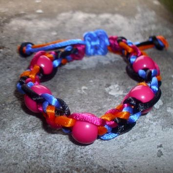 Handmade Colourful Rat Tail Cord and Pink Pony Beads Extendable Macrame Bracelet
