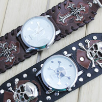 New Fashion&Casual Design Punk Style PU Leather Quartz Skull Wrist Watch for Women and Men