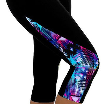 Blue and Black Starlit Print Capri Pants