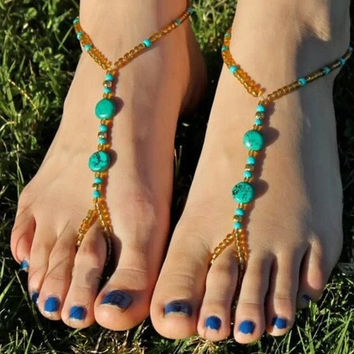 Women's Fashion Jewelry Bohemian Vintage Beach Bead Ankle Foot Jewelry Toe Ring Elastic Anklet Chain Bracelet = 1928811588