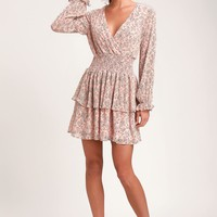Room to Bloom Light Pink Floral Print Long Sleeve Dress