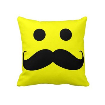 Funny Mustache Smiley Face Throw Pillow from Zazzle.com
