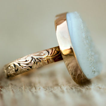 The Exquisite Sparkly Raw Druzy Ring - Set in a Gold Filled Bezel And A Beautifully Etched Gold Filled Band - Starry NIght Collection