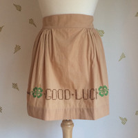Vintage Hostess Apron / Good Luck / Shamrocks / Lucky Charms / Cross Stitch