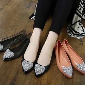 Womens Jelly Flats with BLING Hearts