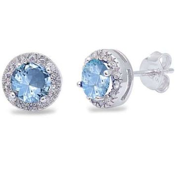 Sterling Silver Aquamarine & White Cz Halo Stud Earrings