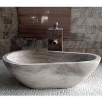"""WS Bath Collections Piedra Pavo-Beige Travertine Beige Travertine 65"""" Free Standing Soaking Tub in Natural Stone from the Piedra Collection"""