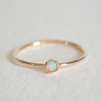 Gold Filled Opal Ring, Stacking Ring, Opal 14k Gold Ring, Dainty Opal Ring, Stackable Ring
